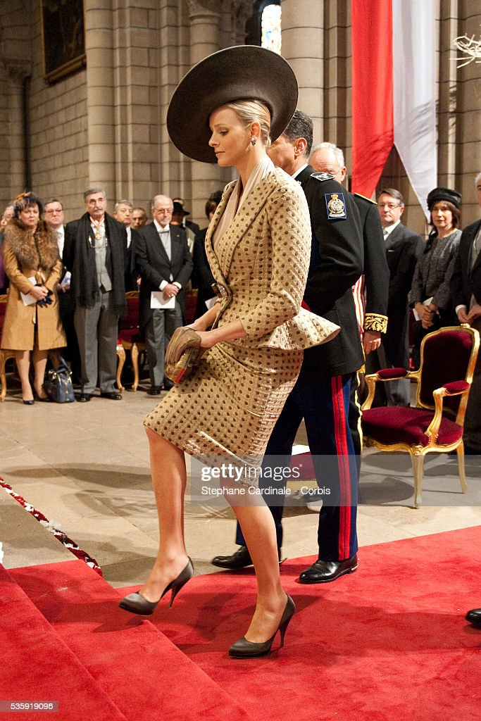 Charlene Wittstock attends the annual traditional Thanksgiving Mass as part of Monaco National Day celebrations on November 19, 2010 in Monaco