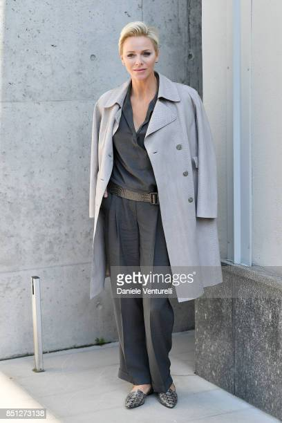 Charlene Wittstock attends the Giorgio Armani show during Milan Fashion Week Spring/Summer 2018 on September 22 2017 in Milan Italy