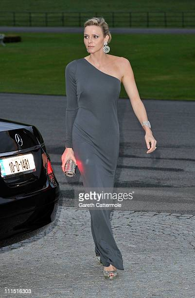 Charlene Wittstock fiancee to His Serene Highness Prince Albert II Of Monaco attends a State Dinner at Aras an Uachtarain the official residence of...