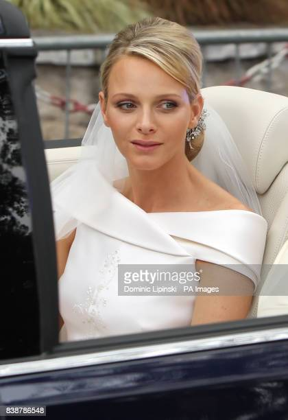 Charlene Wittstock leaves the Place du Palais Monte Carlo for the religious ceremony of her wedding to Prince Albert II of Monaco