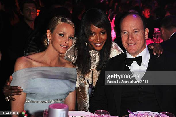 Charlene Wittstock Naomi Campbell and Prince Albert of Monaco attend amfAR's Cinema Against AIDS Gala during the 64th Annual Cannes Film Festival at...