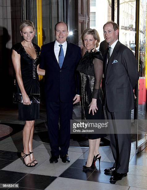 Charlene Wittstock Prince Albert II of Monaco Sophie Countess of Wessex and Prince Edward Earl of Wessex attend the private view of exhibition 'Grace...