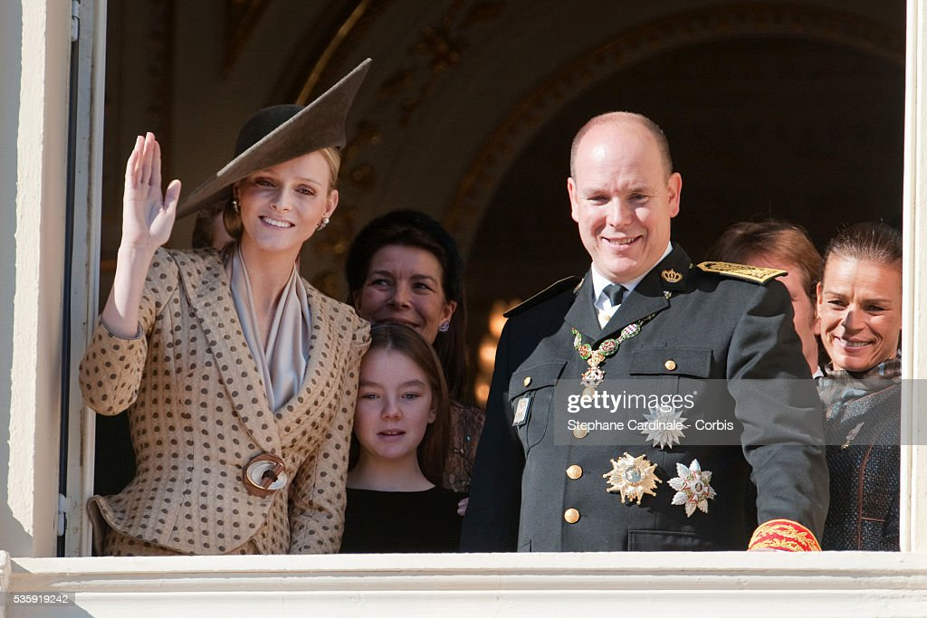 Charlene Wittstock, Princess Alexandra of Hanover, HSH Princess Caroline of Hanover, Prince Albert II of Monaco and Princess Stephanie of Monaco attend the National Day celebrations 2010 in Monaco.