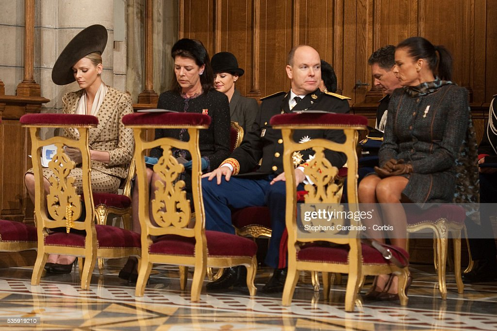 Charlene Wittstock, Princess Caroline of Hanover, Prince Albert II of Monaco and Princess Stephanie of Monaco attend the annual traditional Thanksgiving Mass as part of Monaco National Day celebrations on November 19, 2010 in Monaco