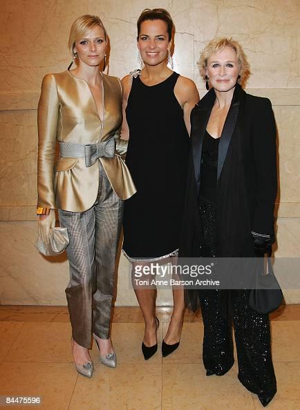 Charlene Wittstock Roberta Armani and Glenn Close attend the Giorgio Armani Prive fashion show during Paris Haute Couture Fashion Week Spring/Summer...