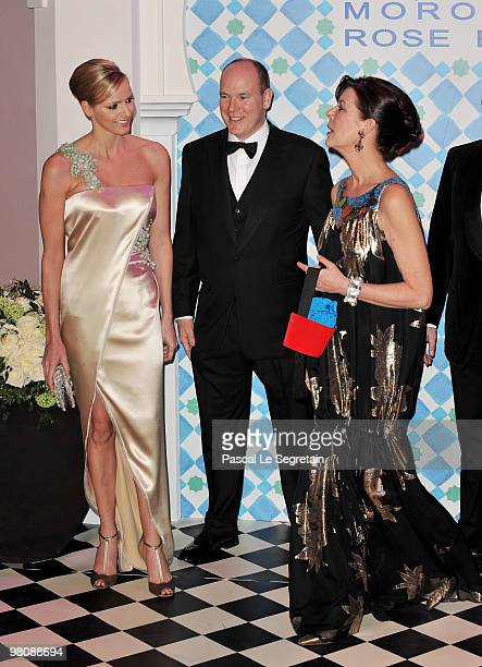 Charlene WittstockPrince Albert II of Monaco and Princess Caroline of Hanover arrive to attend the Monte Carlo Morocco Rose Ball 2010 held at the...