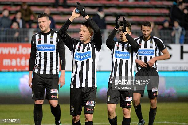 Charleroi celebrates pictured during the Jupiler League match between Sporting Charleroi and Zulte Waregem on February 22 in Charleroi Belgium