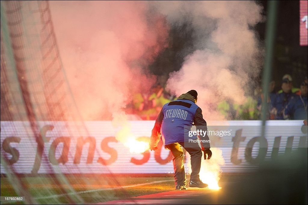 SC Charleroi react during the Jupiler League match between Standard de Liege and Sporting Charleroi on December 7, 2012 in Liege, Belgium.