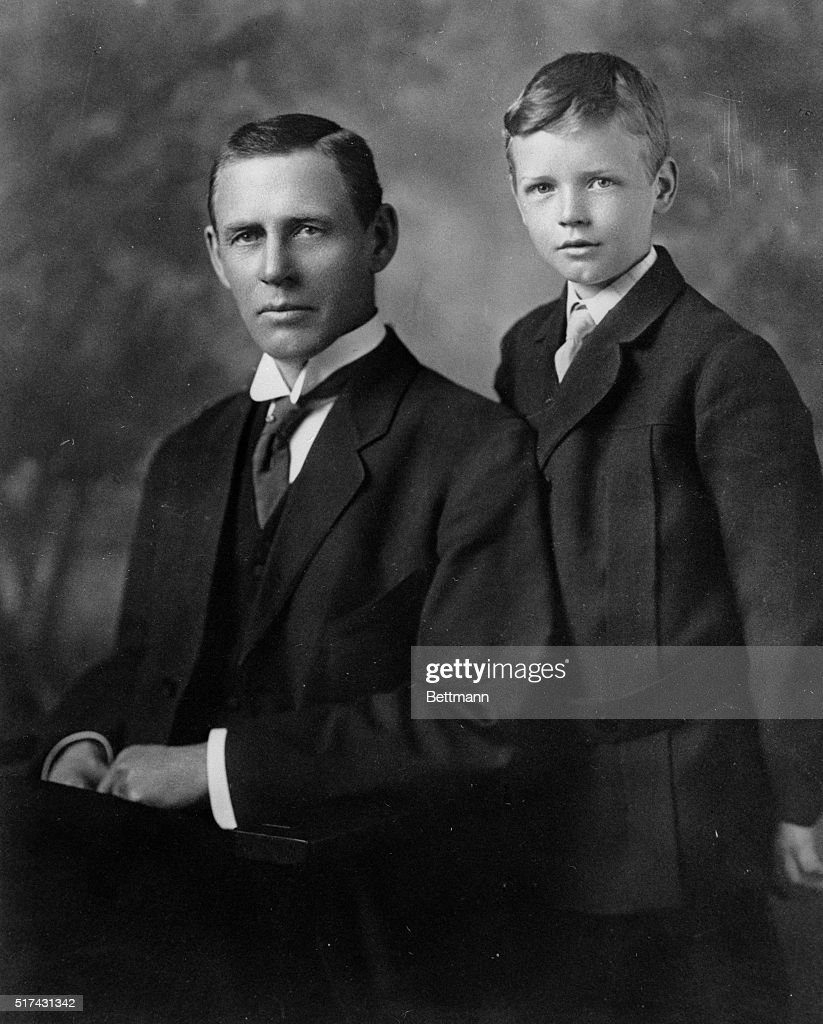 Charles A. Lindbergh is shown at the age of eight (left) with his father, Charles A. Lindbergh, Sr., then 51, in photo made about 1910.