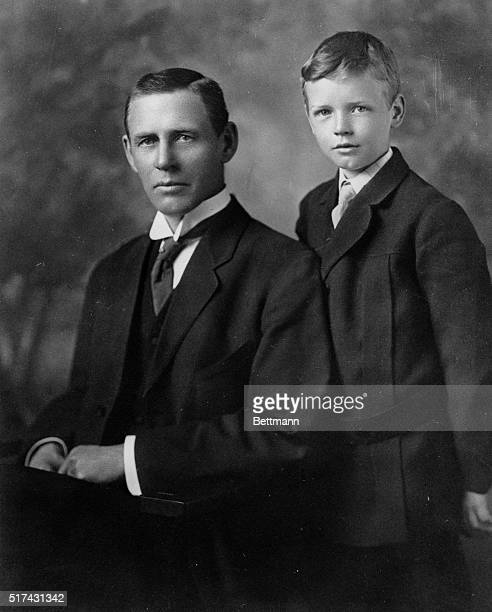 Charles A Lindbergh is shown at the age of eight with his father Charles A Lindbergh Sr then 51 in photo made about 1910