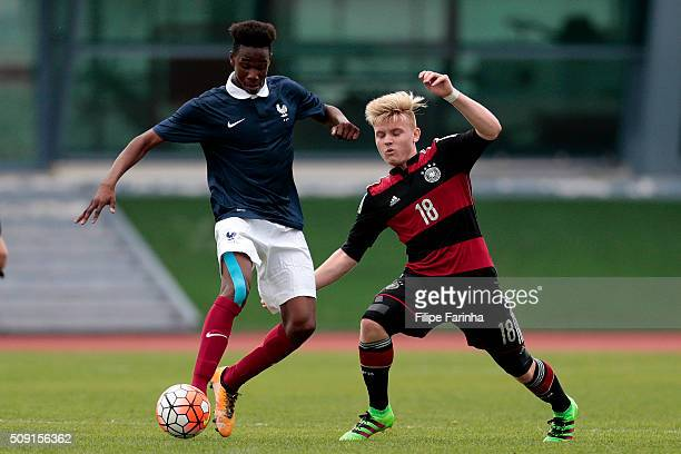 Charles Abi of France challenges Dominik Marx of Germany during the UEFA Under16 match between U16 France v U16 Germany on February 6 2016 in Vila...