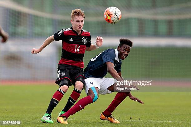 Charles Abi of France challenges Jan Wellers of Germany during the UEFA Under16 match between U16 France v U16 Germany on February 6 2016 in Vila...