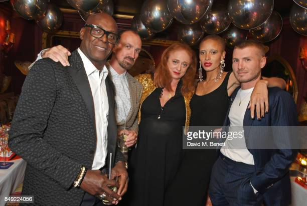 Charles Aboah guest Camilla Lowther Adwoa Aboah and Felix Cooper attend the LOVE magazine x Miu Miu party held during London Fashion Week at Loulou's...