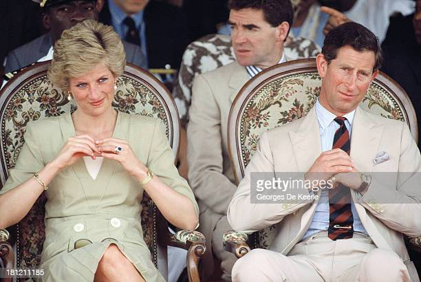 Charles and Diana Prince and Princess of Wales watch a dancing display at the Bamenda Electrification Plant during their official visit to Cameroon...