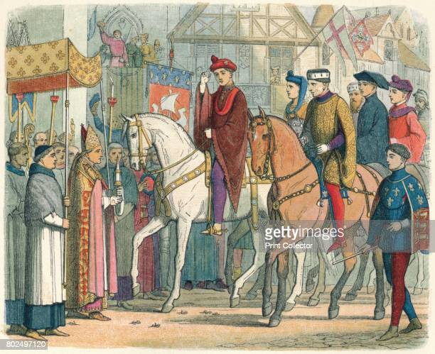 Charles and Henry welcomed by the clergy' 1864 Charles VI of France and Henry V of England welcomed by the clergy Paris 1420 From A Chronicle of...