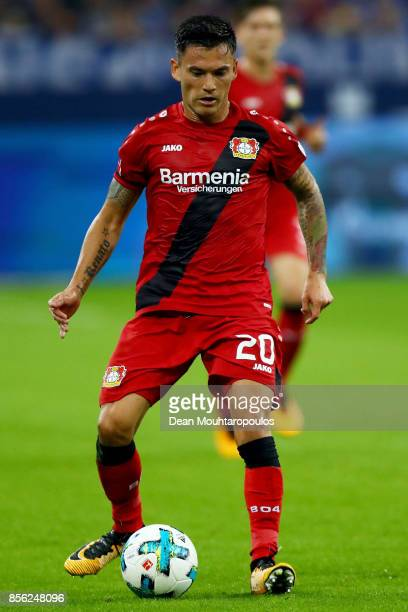 Charles Aranguiz of Bayer 04 Leverkusen in action during the Bundesliga match between FC Schalke 04 and Bayer 04 Leverkusen at VeltinsArena on...