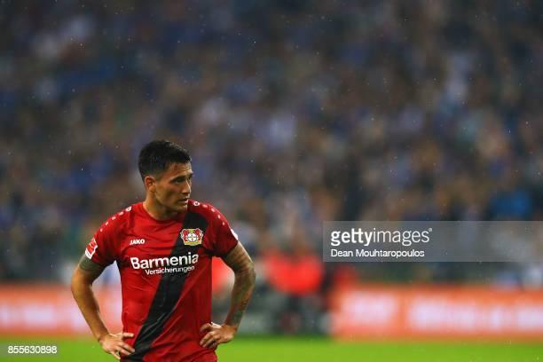 Charles Aranguiz of Bayer 04 Leverkusen looks on during the Bundesliga match between FC Schalke 04 and Bayer 04 Leverkusen at VeltinsArena on...