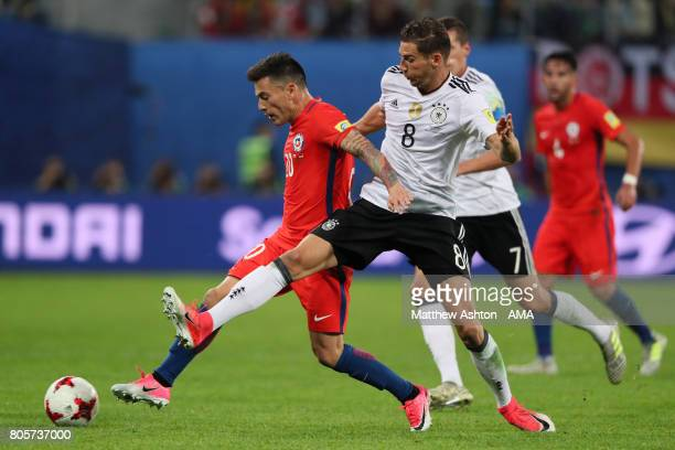 Charles Aranguiz of Chile battles with Leon Goretzka of Germany during the FIFA Confederations Cup Russia 2017 Final match between Chile and Germany...