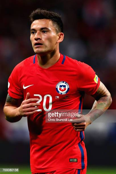 Charles Aranguiz of Chile in action during the FIFA Confederations Cup Russia 2017 Group B match between Germany and Chile at Kazan Arena on June 22...
