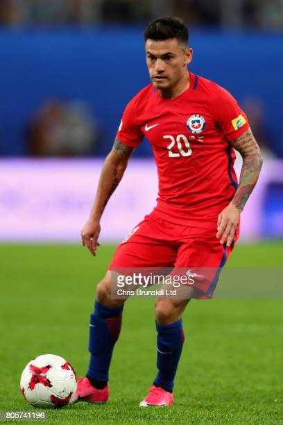 Charles Aranguiz of Chile in action during the FIFA Confederations Cup Russia 2017 Final match between Chile and Germany at Saint Petersburg Stadium...