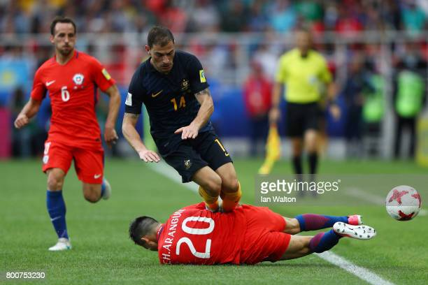 Charles Aranguiz of Chile tackles James Troisi of Australia during the FIFA Confederations Cup Russia 2017 Group B match between Chile and Australia...