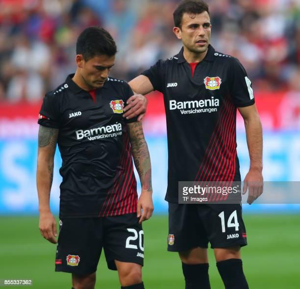 Charles Aranguiz of Leverkusen and Admir Mehmedi of Leverkusen looks on during the Bundesliga match between Bayer 04 Leverkusen and Hamburger SV at...