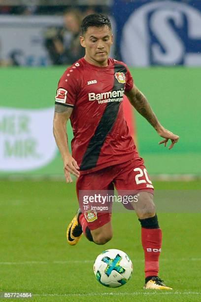 Charles Aranguiz of Leverkusen controls the ball during the Bundesliga match between FC Schalke 04 and Bayer 04 Leverkusen at VeltinsArena on...