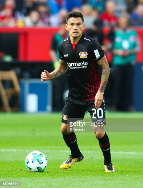 Charles Aranguiz of Leverkusencontrols the ball during the Bundesliga match between Bayer 04 Leverkusen and SC Freiburg at BayArena on September 17...