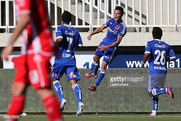 Charles Aranguiz of Universidad de Chile celebrates a scored goal during a match between Universidad de Chile and Union La Calera as part of the...