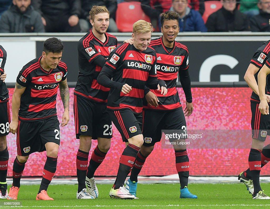 Charles Ar����nguiz, Christoph Kramer, Julian Brandt and Benjamin Henrichs of Bayer 04 Leverkusen celebrate after scoring the 1:0 during the game between Bayer 04 Leverkusen and Hertha BSC on april 30, 2016 in Leverkusen, Germany.