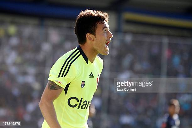 Charles Aránguiz of Universidad de Chile celebrates his goal during a match between Universidad de Chile and Independiente JT as part of the Copa...