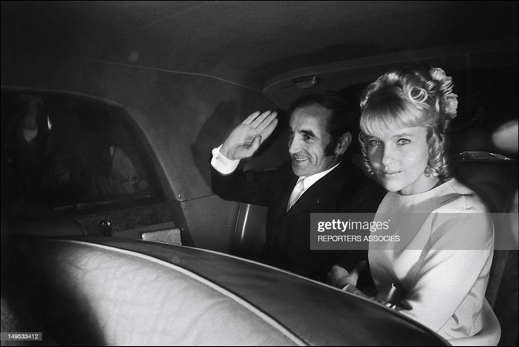 Charles Aznavour and his Ulla Thorsell during their wedding on July 12, 1968 in France.