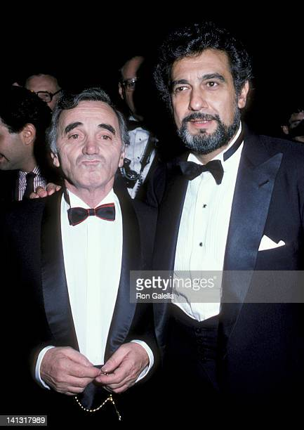 Charles Aznavour and Placido Domingo at the State of Liberty Centennial Gala Lincoln Center New York City