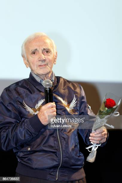 Charles Aznavour attends 'Tribute to Charles Aznavour' at the Louis Lumiere Institute during 9th Film Festival Lumiere on October 21 2017 in Lyon...
