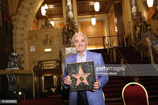 Charles Aznavour Awarded Honorary Walk Of Fame Plaque By Senator Kevin De Leon at the Pantages Theatre on October 27 2016 in Hollywood California