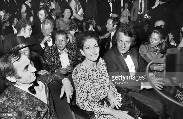 Charles Aznavour Henri Salvador Married Callas and JeanPierre Cassel in the public of Jerry Lewis's spectacle Paris Olympia JAC1116412