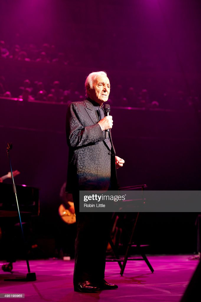 Charles Aznavour performs on stage at Royal Albert Hall on June 1 2014 in London United Kingdom