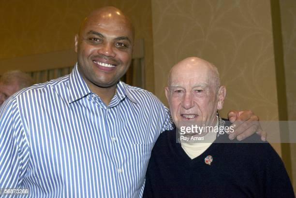 Charles Barkley and Jack Ramsay smile for the camera during the Basketball Hall of Fame Inductees Press Conference on February 17 2006 at the Hilton...