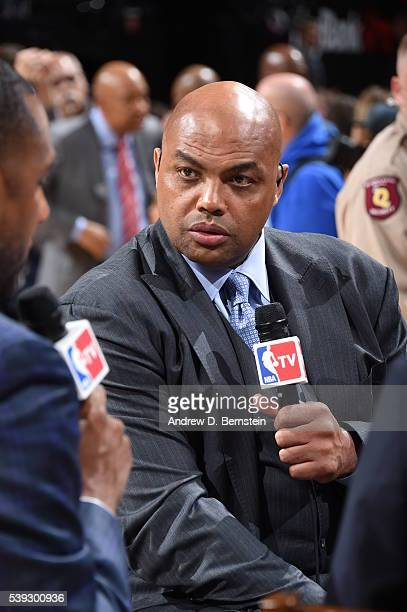 Charles Barkley before the game between the Golden State Warriors and the Cleveland Cavaliers in Game Three of the 2016 NBA Finals on June 8 2016 at...