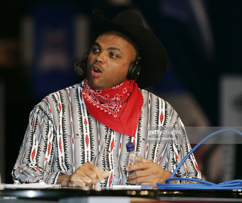 Charles Barkley dressed up in his Texas outfit for his TNT broadcast at Jam Session during NBA All Star Weekend on February 16 2006 in Houston Texas...