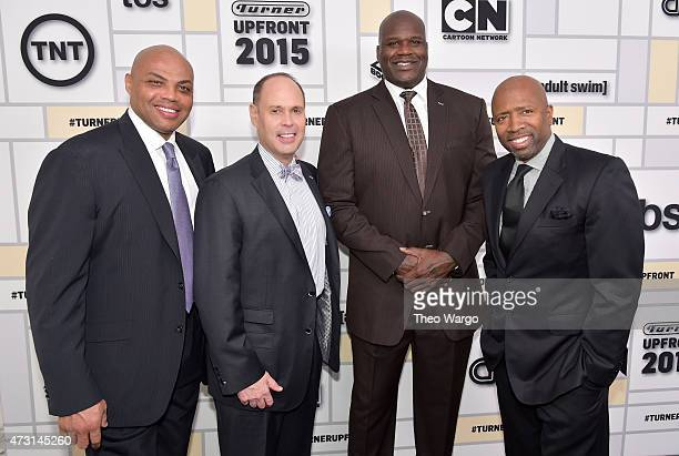 Charles Barkley Ernie Johnson Shaquille O'Neal and Kenny Smith attend the Turner Upfront 2015 at Madison Square Garden on May 13 2015 in New York...
