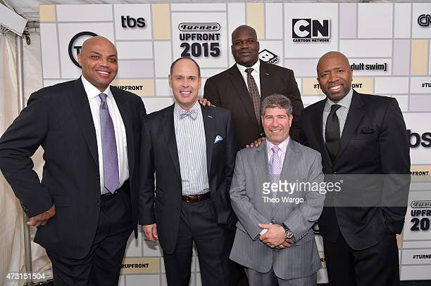 Charles Barkley Ernie Johnson Shaquille O'Neal Lenny Daniels President Turner Sports and Kenny Smith attend the Turner Upfront 2015 at Madison Square...
