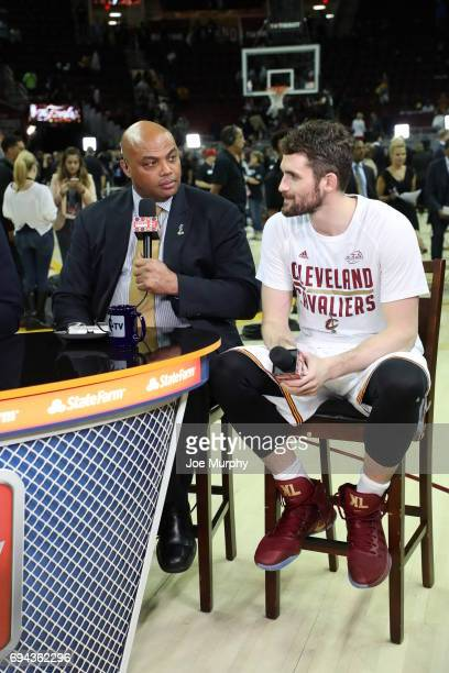 Charles Barkley interviews Kevin Love of the Cleveland Cavaliers live post game on NBA TV after the game between the Golden State Warriors and...