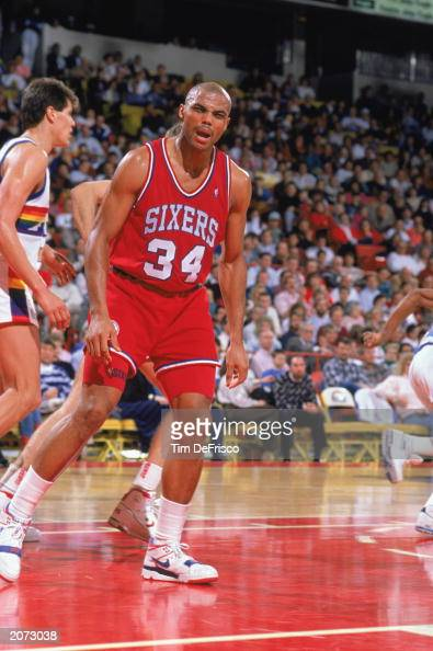 Charles Barkley of the Philadelphia 76ers reacts to the 19891990 NBA season game at the McNichols Arena in Denver Colorado