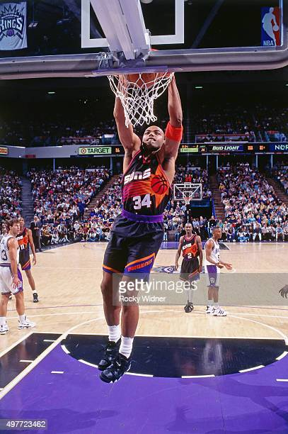 Charles Barkley of the Phoenix Suns dunks against the Sacramento Kings circa 1996 at Arco Arena in Sacramento California NOTE TO USER User expressly...