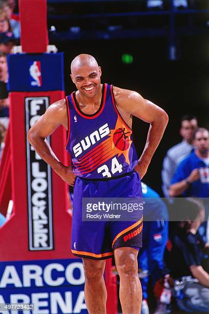 Charles Barkley of the Phoenix Suns looks on against the Sacramento Kings circa 1996 at Arco Arena in Sacramento California NOTE TO USER User...