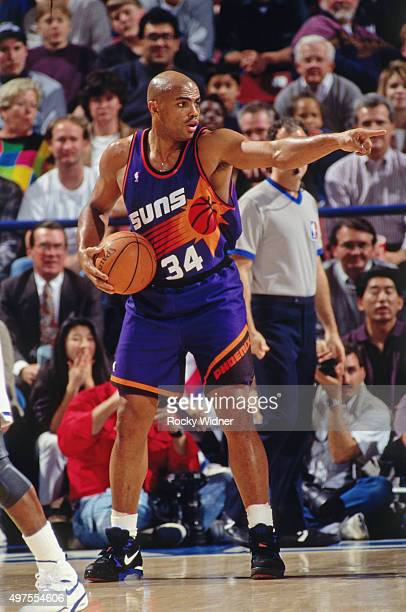 Charles Barkley of the Phoenix Suns points against the Sacramento Kings circa 1995 at Arco Arena in Sacramento California NOTE TO USER User expressly...