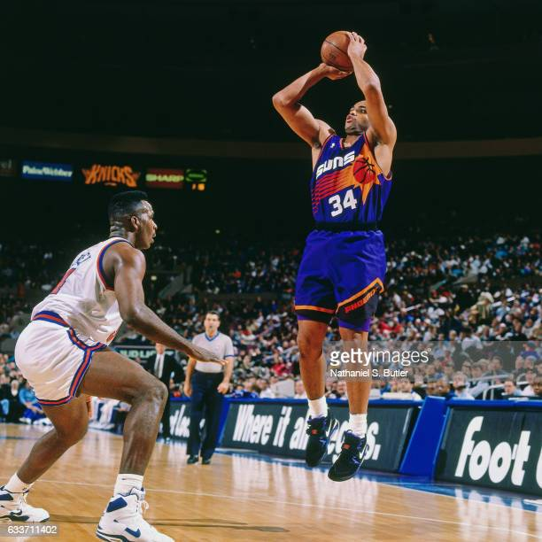 Charles Barkley of the Phoenix Suns shoots against the New York Knicks during a game played circa 1993 at the Madison Square Garden in New York City...