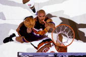 Charles Barkley of the Phoenix Suns shoots against the Portland Trail Blazers in Game Three of the Western Conference Quarterfinals during the 1995...