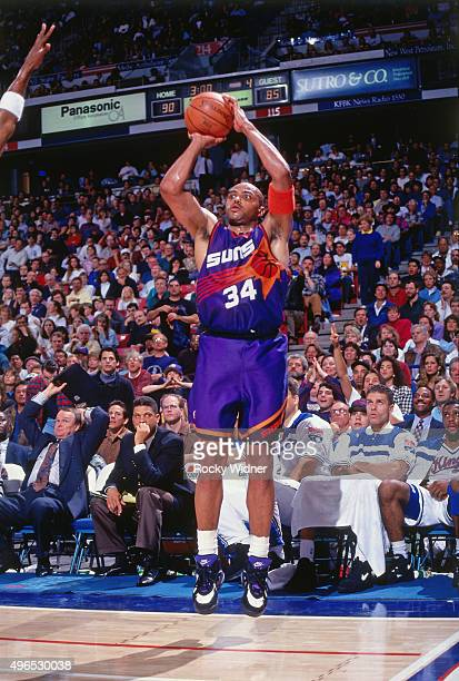 Charles Barkley of the Phoenix Suns shoots against the Sacramento Kings circa 1993 at Arco Arena in Sacramento California NOTE TO USER User expressly...